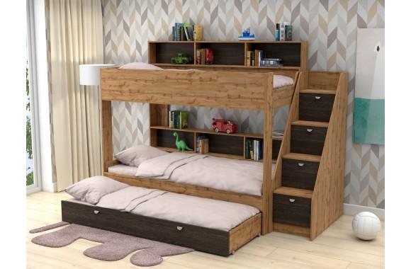 Односпальная кровать Трехъярусная Golden Kids 10. (90х190/85х1