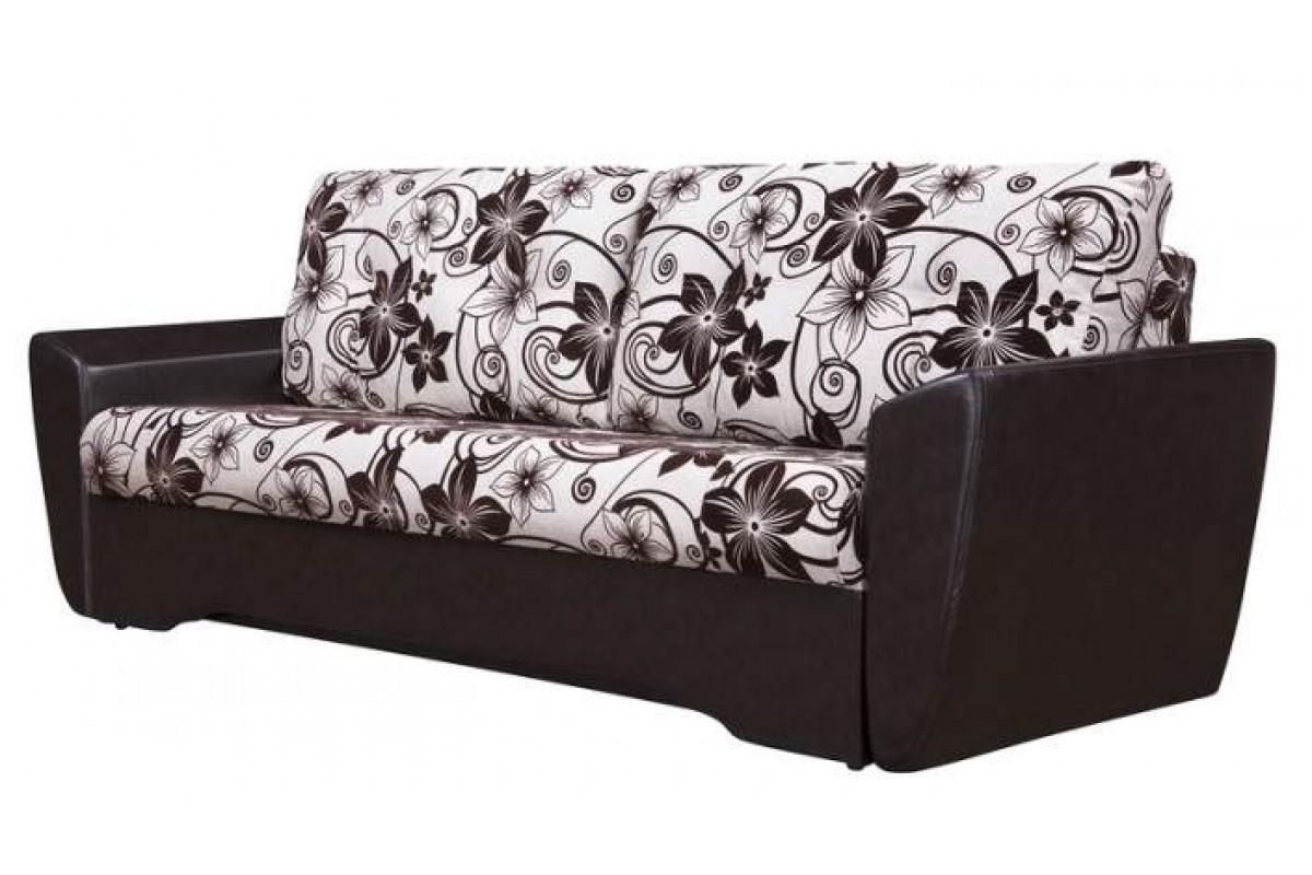 """Диван-кровать """"Амстердам"""" еврокнижка, бежевая рогожка с цветами и черный кожзам"""