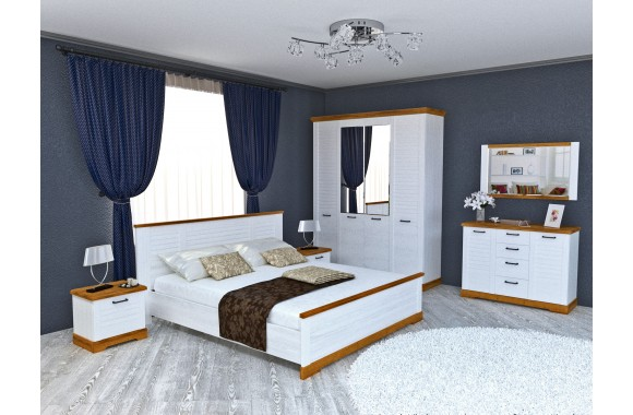 Спальня Кантри в цвете Орех Рибек натуральный