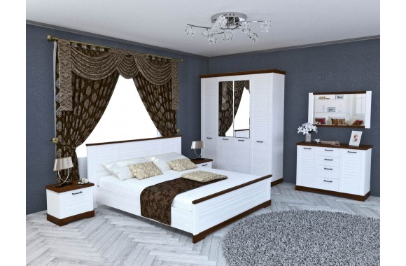 Спальный гарнитур Кантри в цвете Орех Рибек темный