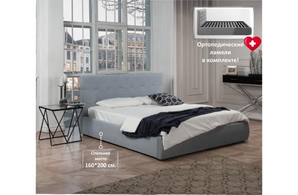 """Кровать Мягкая """"Selesta&; 1600 серая подъемным механи"""