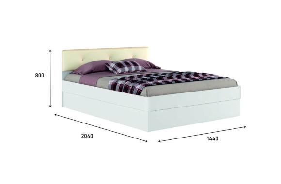 """Кровать с мягким изголовьем Белая """"Николь ЭКО-П&; 1400 механизм"""