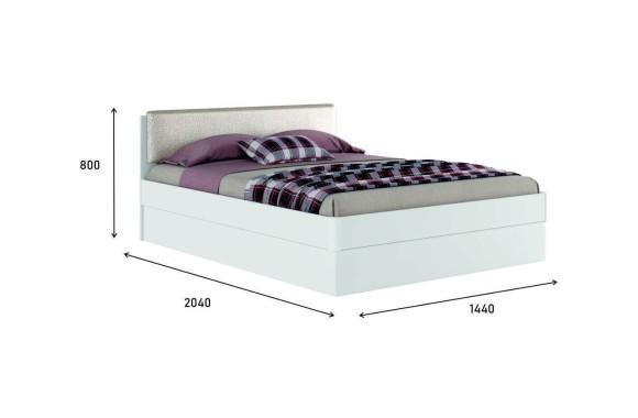 """Кровать с мягким изголовьем Белая """"Николь ЭКО узор&; 1400 подъемным"""