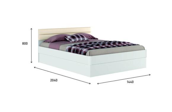 """Кровать с мягким изголовьем Белая """"Николь МБ&; 1400 подъемным механизмом"""