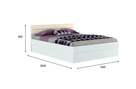 """Кровать с мягким изголовьем Белая двуспальная """"Николь МБ&; 1600 подъемным"""