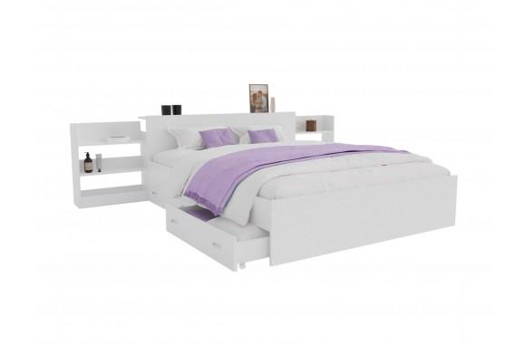 Кровать Доминика с блоком и ящиками 140 (Белый) с матрасом PROMO B COCOS