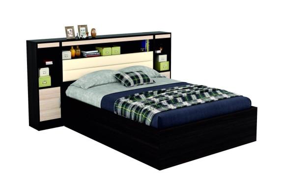 Тумба Кровать Виктория 1400 с изголовьем кожи, блоком