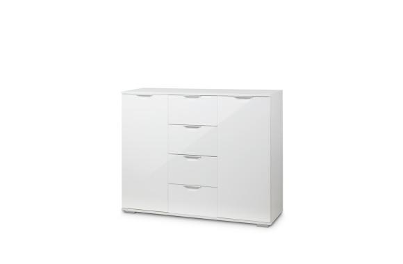 Комод Лайн-4 (Фасады МДФ) белый/глянец