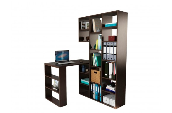 Книжный шкаф Стеллаж со столом Рикс-15 венге