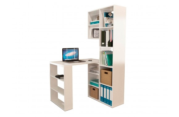 Книжный шкаф Стеллаж со столом Рикс-25 белый
