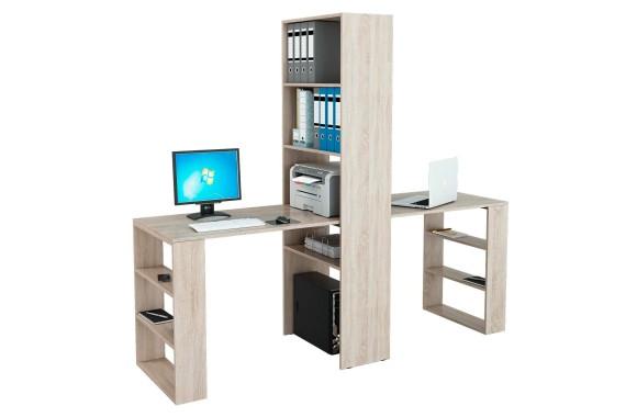 Книжный шкаф Стеллаж со столами Рикс-455 дуб