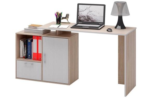 Компьютерный стол письменный Слим-4, прямой/угловой дуб сонома / белый