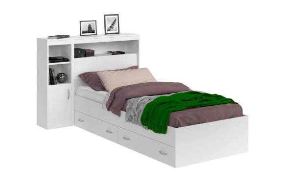 Кровать Виктория белая 90 с блоком, 1 тумбой и ящиками