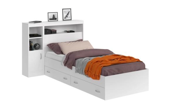 Кровать Виктория белая 90 с блоком, 1 тумбой, ящиками и матрасом