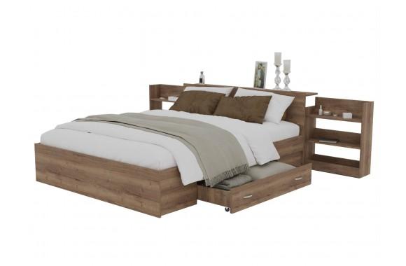 Кровать Доминика с блоком и ящиком 140 (Дуб Золотой) матрасом
