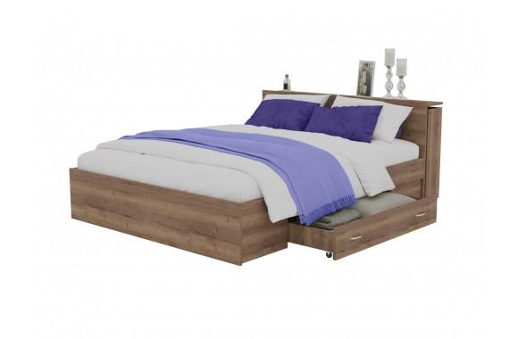 Кровать Доминика с блоком и ящиками 140 (Дуб Золотой) матрасом