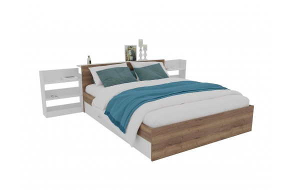 Кровать Доминика с блоком и ящиками 160 (Дуб Золотой/Белый)